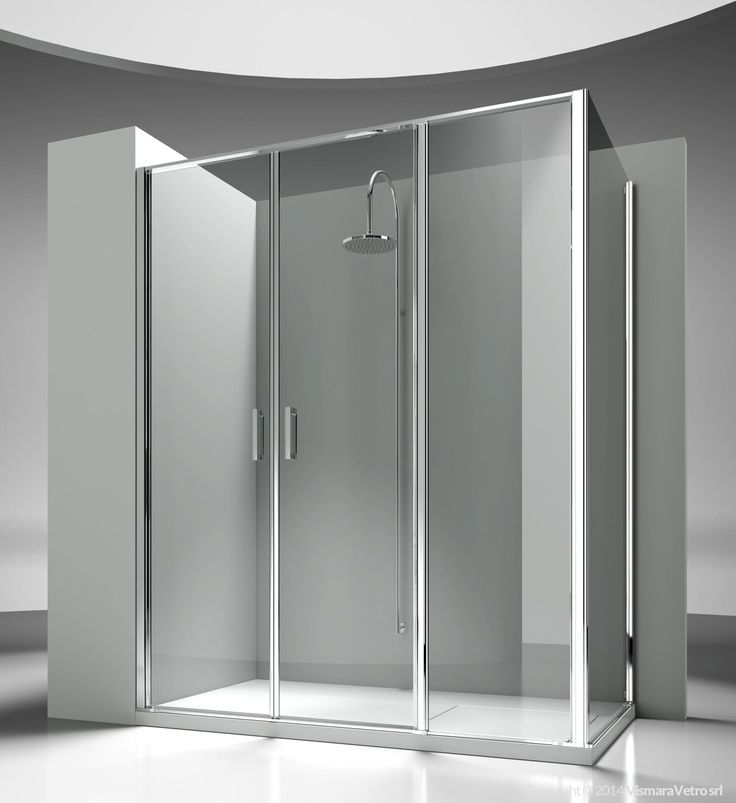 Corner shower enclosure made by an opening element L3 with a side element LG. The standard height of the complete programme is 195 cm, so to propose Linea as natural complement of the new generation of shower trays, partially or totally built in. Shower enclosures Linea by @vismaravetro | L3+LG