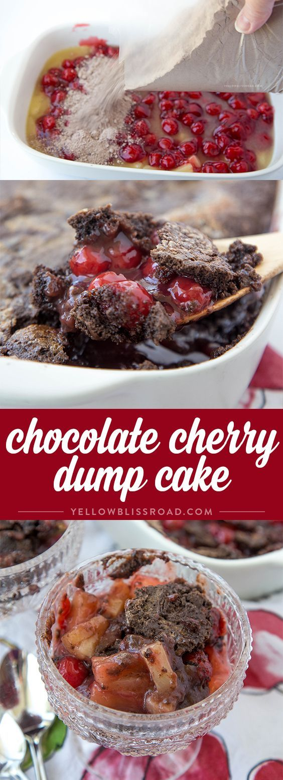 Chocolate Cherry Dump Cake with Pineapple - the easiest cobbler-like dessert…