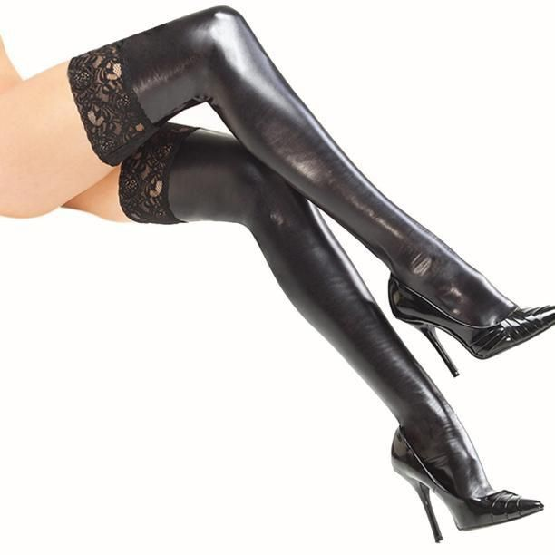 Sexy Patent Leather Thigh High Stockings With Lace