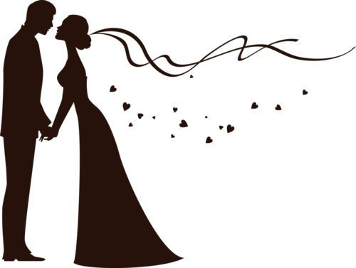 Bride and groom silhouette another option to draw on the clipart