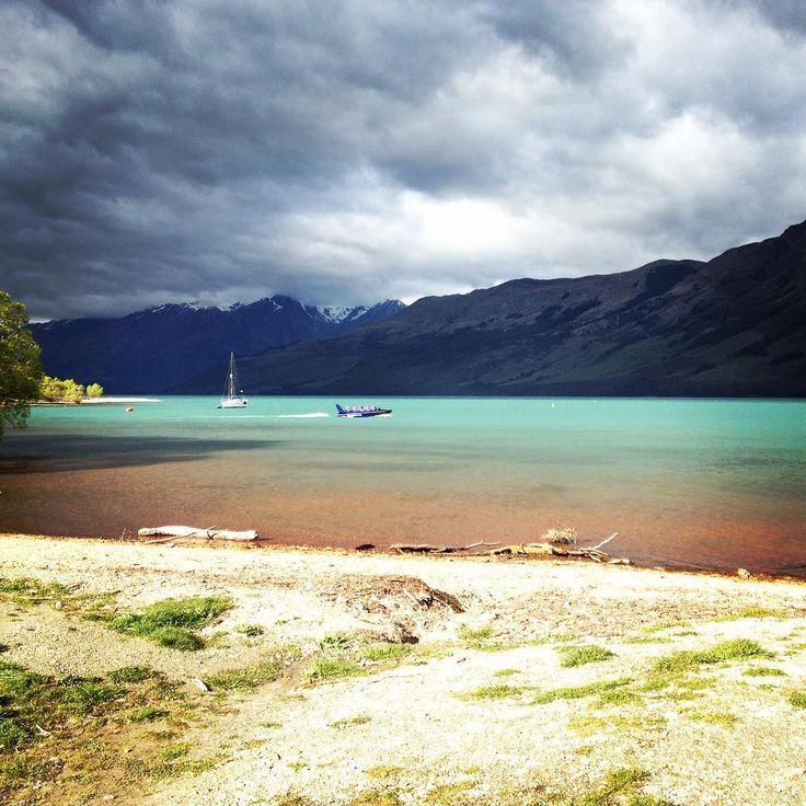 The water really is turquoise in Lake Wakatipu. Breathtaking. #vickisnewzealandadventure
