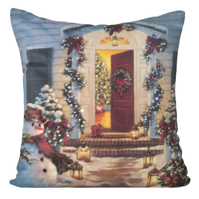Modrá obliečka na vankúšik s vianočným obrázkom
