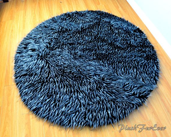 Black White Wolf Extreme Thick Plush Round Area Rug Faux