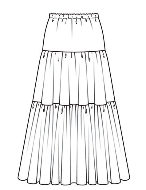 Free Burda pattern and instructions for tiered maxi skirt