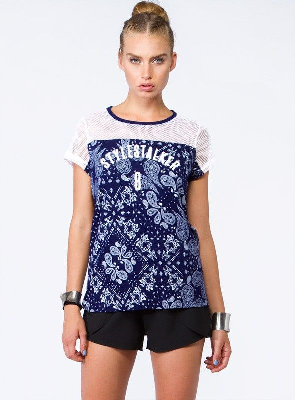 """Stylestalker+8+-+Stylestalker+8+Tee+by+Stylestalker.  ++++'Stylestalker+8'+front+print+design ++++On+trend+sports+luxe+ ++++Contrasting+sheer+white+mesh+bodice+&+sleeve+detail ++++Contrasting+navy+blue+collar ++++100%+Rayon    Our+model+is+wearing+a+size+8+and+is+177.5cm+tall.+(5'10"""")"""