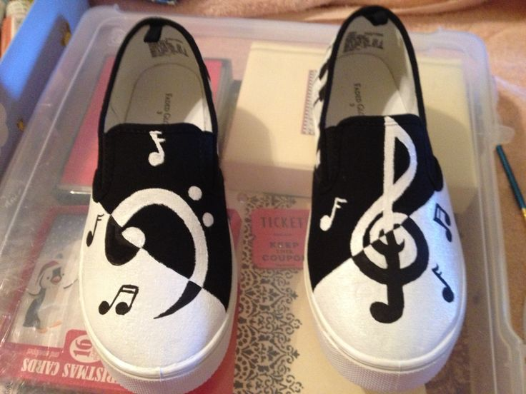 Painted canvas shoes.