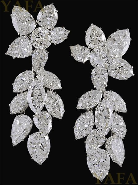 HARRY WINSTON Diamond Cluster Earrings - Yafa Jewelry