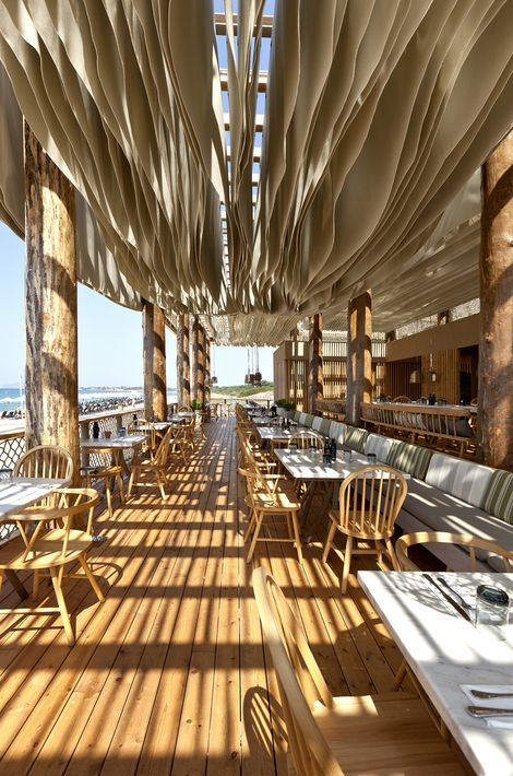 outdoor seating ceiling treatment  |  restaurant design  {barbouni, athens} #restaurantdesign #interiordesign