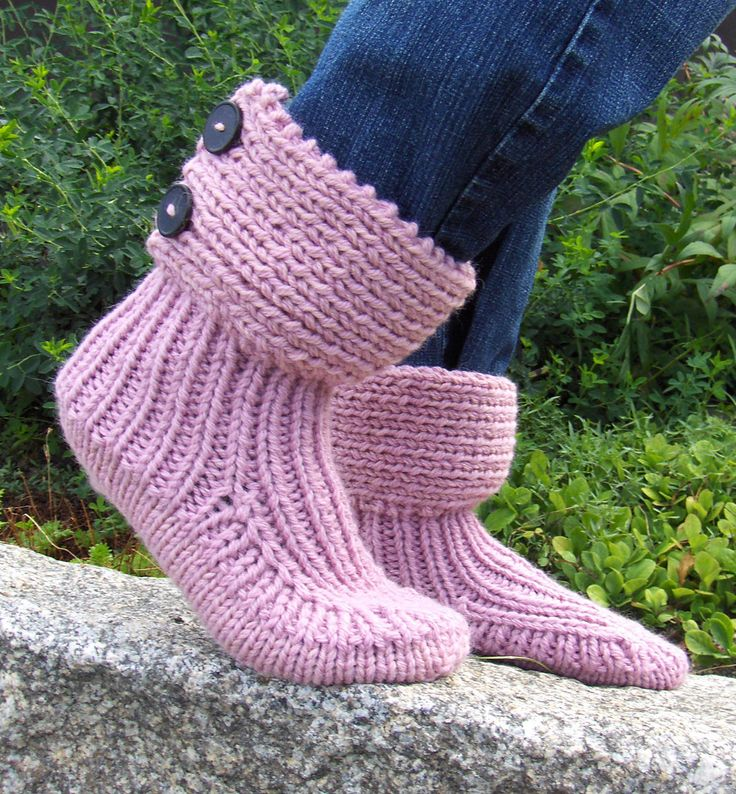 Free Knitting Pattern for Moon Socks Slipper Boots - Easy cuffed slipper boots from Drops Design in three sizes and aran weight yarn. Pictured project by Memma