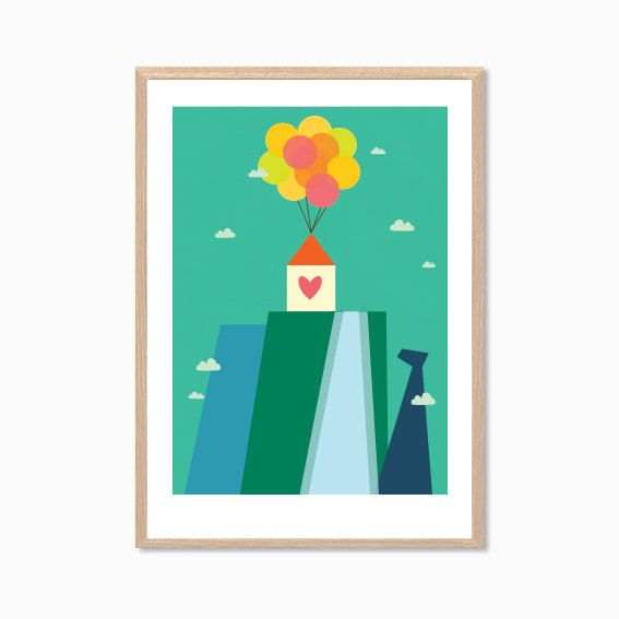 DISNEY UP  | House On A Mountain Poster  : Movie Modern Illustration Retro Art Wall Decor Print