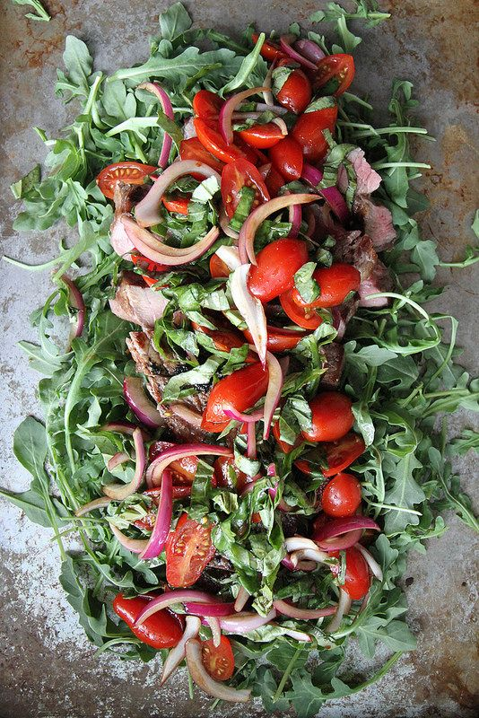 Grilled Steak with Arugula, Cherry Tomatoes, Red Onion and Basil