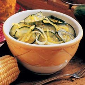 Easy Freezer Pickles- great way to use cucumbers a few at a time, and we are enjoying this as a side salad. Yum!