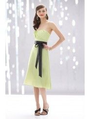 Taffeta Strapless Draped Neckline Knee-Length Bridesmaid Dress
