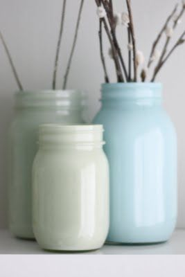 Painted glass bottles and jars...did this with @Alex Leichtman Purvis...It was so fun and they turned out lovely! :)