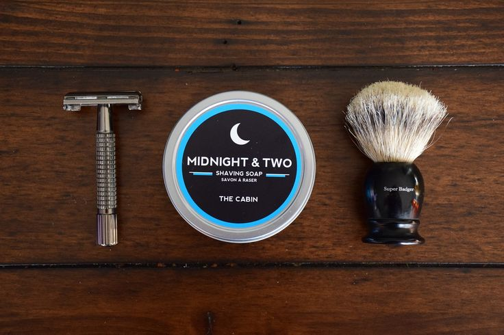 The perfect three piece shaving set with our amazing scent, The Cabin #wetshaving #TheCabin #midnightandtwo