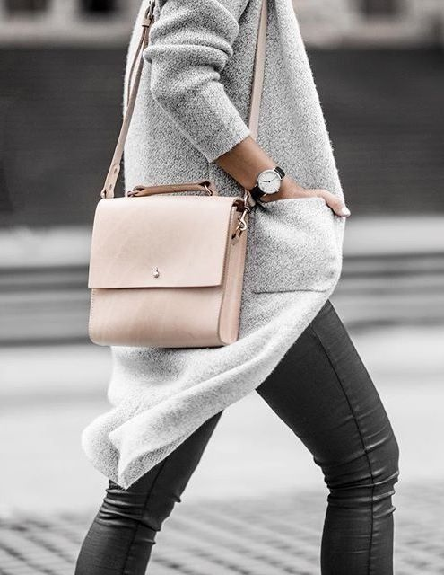 Need this bag.  Pink + grey | minimal chic Love the pale pink bag and light grey long cardigan.