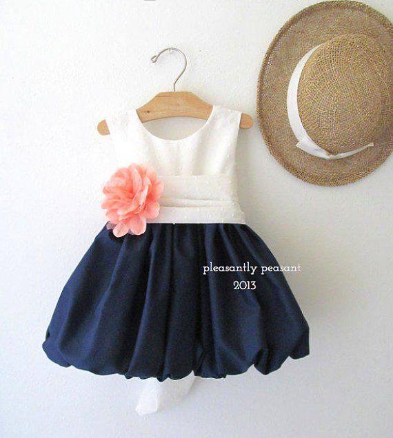 Navy, coral and white flower girl dress - www.etsy.com/shop/MossRoseCottageDress