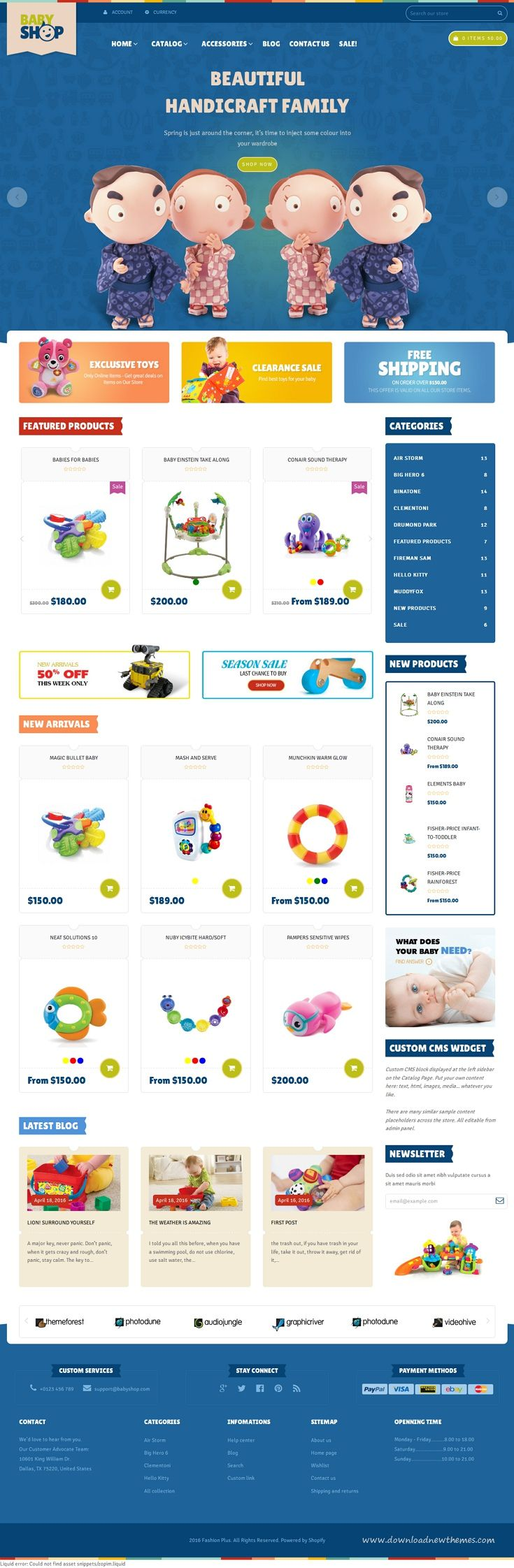 Babyshop Responsive Shopify Theme has a very simple design that is very popular with online Baby shop, handmade, gift retailer etc.With 3 theme colors and Great slideshow, nice banners making your site more beautiful.