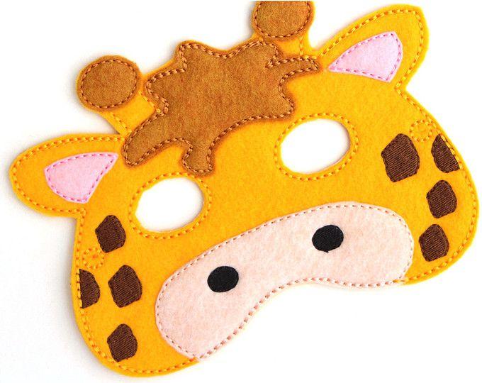 Jirafa máscara, disfraz de jirafa, máscara de fieltro, máscara de la cara de los niños, máscara de Animal, disfraz de Halloween, finja el juego, vestido, favores de partido, traje de los cabritos