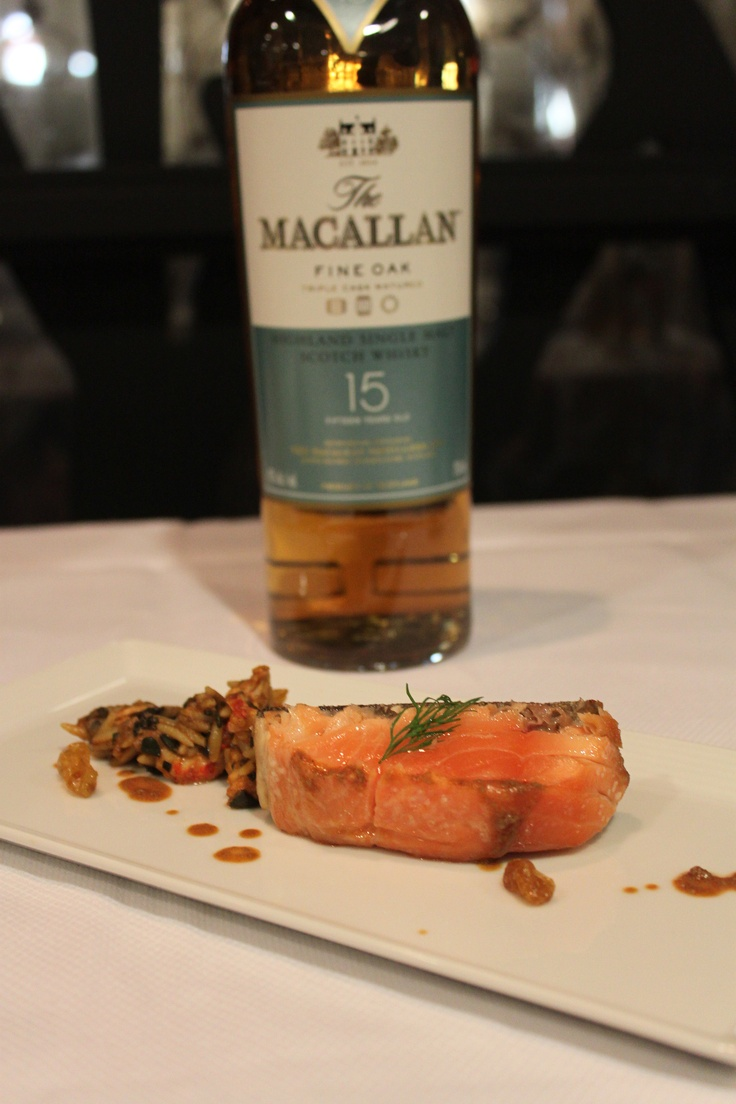 ... Salmon, Belle River Crawfish, Seaweed Risotto and Macallan Fine Oak 15