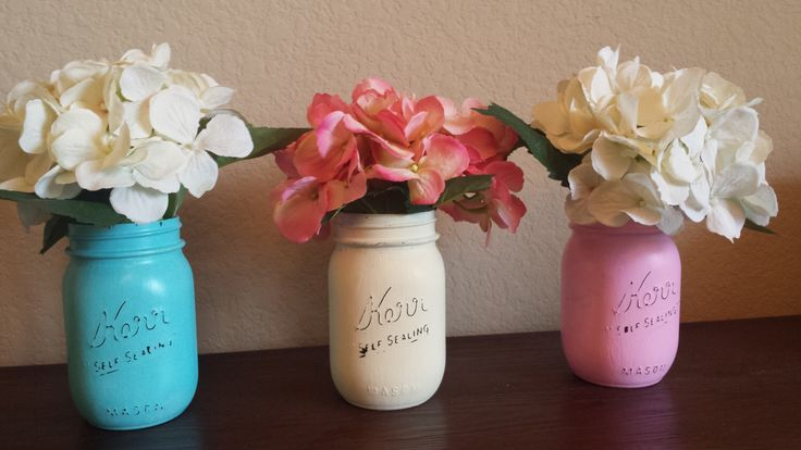 3 Pint Kerr Mason Jars, Party, Painted Mason Jars, Flower Vases, Rustic Wedding Centerpieces, Bahama Blue, Creme, And Pink Mason Jars by ChicMasonWorks on Etsy https://www.etsy.com/listing/239795864/3-pint-kerr-mason-jars-party-painted
