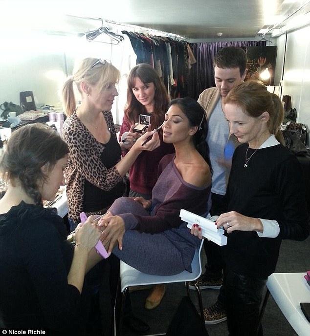 Makeup artist Karin Darnell & Fashion Director Arabella Greenhill making sure Nicole Scherzinger looks her best.