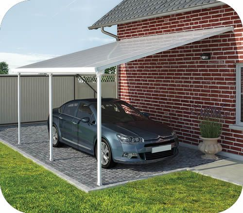 Palram 13x20 feria attached metal carport kit carport in for Diy garage packages