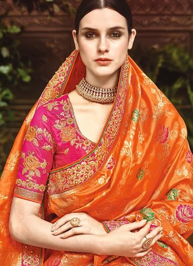 7f15bff26f6d Orange and Pink Embroidered Silk Saree | wedding blouse designs ...