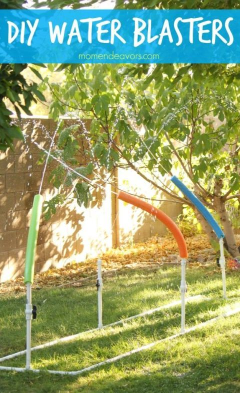 "Once your kids tire of the sprinkler halfway through the summer, jazz up their water play with pool noodles and PVC pipe to create these ""blasters"" they can move and direct. Click through for instructions and more ways to stay cool and survive the hot summer heat."
