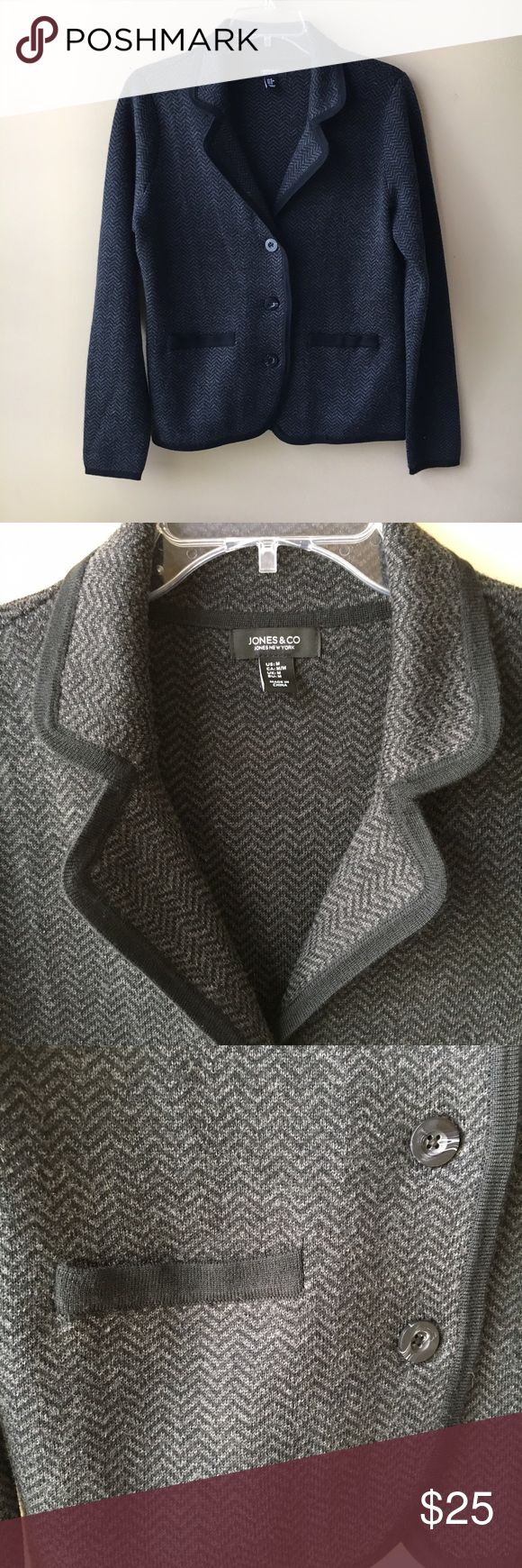 Jones & Co Wool Blend Sweater/Blazer sz M This fine merino wool blend sweater/blazer is super soft and can be casual or dressy. Worn one time. Excellent condition! Size M Jones New York Jackets & Coats Blazers