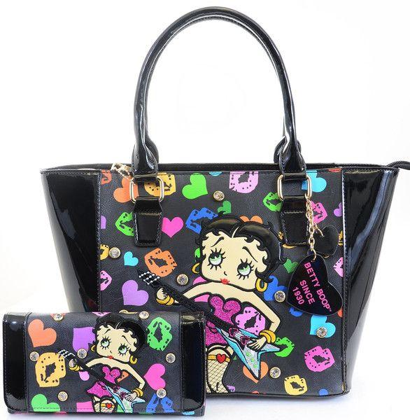 Betty Boop Rock N Roll Guitar Black Tote Bag Purse ...