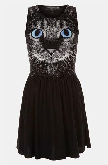 Topshop Cat Graphic Skater Dress (Petite) | Nordstrom  This is funny. I can wear cat print clothing again. Like when I was 8.