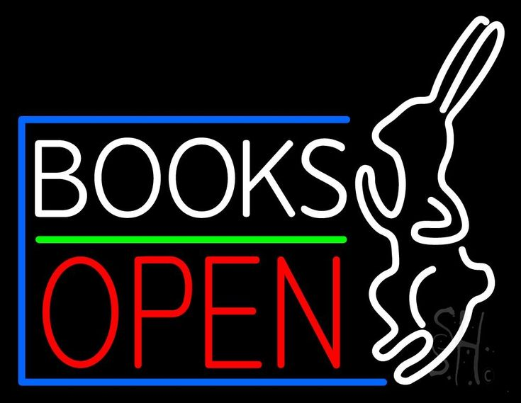 Books With Rabbit Logo Open Neon Sign 24 Tall x 31 Wide x 3 Deep, is 100% Handcrafted with Real Glass Tube Neon Sign. !!! Made in USA !!!  Colors on the sign are Red, Green and White. Books With Rabbit Logo Open Neon Sign is high impact, eye catching, real glass tube neon sign. This characteristic glow can attract customers like nothing else, virtually burning your identity into the minds of potential and future customers.
