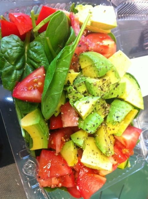 I could eat this at every day - baby spinach, avocado, tomato, lemon, salt and pepper.