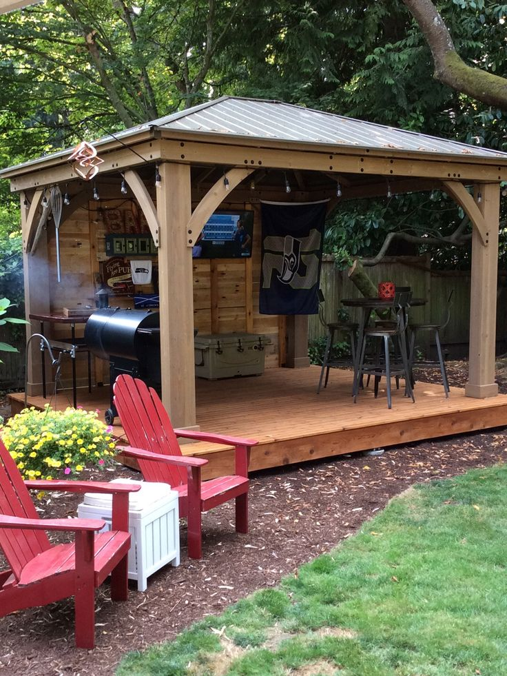 Decorating A 12x14 Living Room: Costco Gazebo + Free Pallet Wood For Wall. Go Hawks