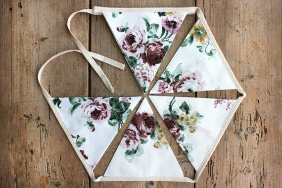 Lovely 'Vera' Floral Bunting Banner Pennant by annasbluebellblue