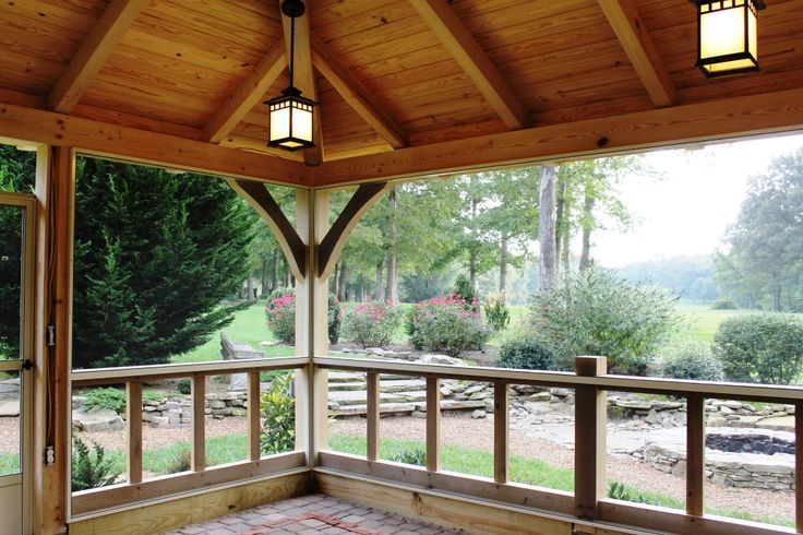 Outdoor living timber frame pavilion timber frame for Timber frame screened porch