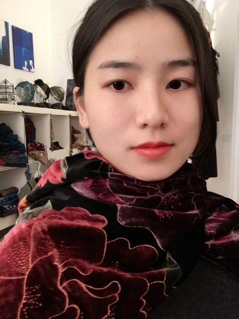 Wonderful velvet silk scarf with flower print