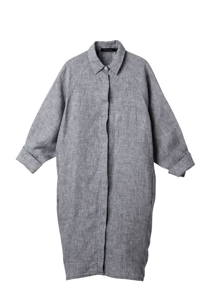 The 'Evie' Shirt Dress in Fog - Andrea & Joen French Linen Loungewear Collection shot by Sylve Colless