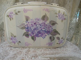 How To Decoupage Vintage Suitcases Train Cases and Luggage with FREE decoupage flowal papers.