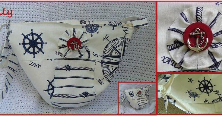 """""""#Морской якорь""""  Интересная #сумка необычной формы с полукруглым дном, маленькая, но вместительная. Украшена морским якорем. Выполнена из ткани оксфорд в морском стиле, подкладка молочная, два кармашка, ремешок через плечо, длина регулируется Размер 33Х27 см.  Застежка: молния #Slataly #handbag #Handmadebag #handmadebags #madeinukraine"""