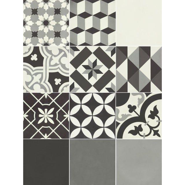 Carreau De Ciment Mur Ciment Gris Noir Blanc Mat L 20 X L 20 Cm