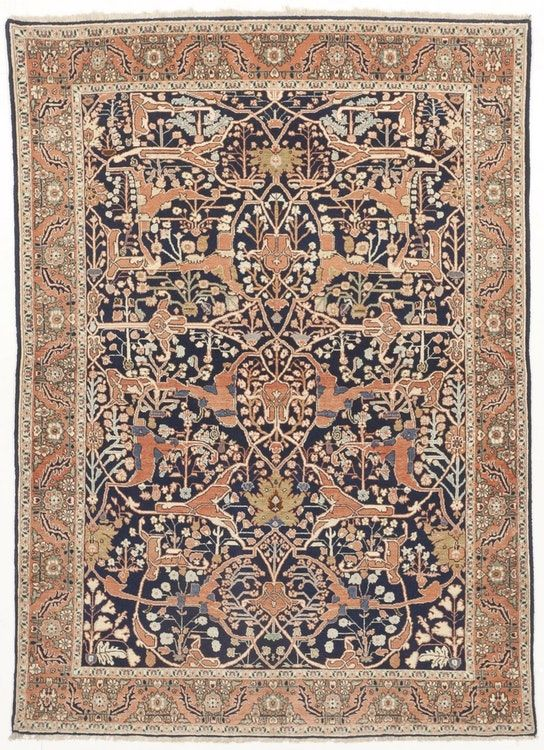 """Vintage Hand knotted wool on silk rug. 7'5""""x 5'4"""""""