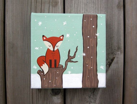 """Original Artwork - Hand Painted - """"Winter Fox"""" - Wall Art - Woodland Animals - Acrylic Painting on a 6x6 Inch Canvas"""