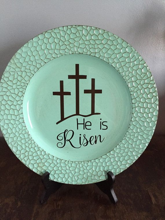 He is Risen decorative plate | Easter decor | Easter decorative plate & 609 best Crafts - Charger Plates images on Pinterest | Charger ...