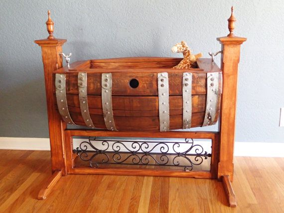 Wine barrel baby cradle custom made. by picklepatchrelics on Etsy, $1500.00