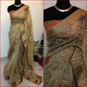 Look fab in jute & net combination saree with red brocade blouse. Price on request. TO ORDER, MAIL TO keyahboutique@gmail.com with the CODE mentioned in the picture