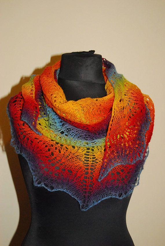 Rainbow Scarf Rainbow Shawl Triangle Shawl Knit Shawl Hand