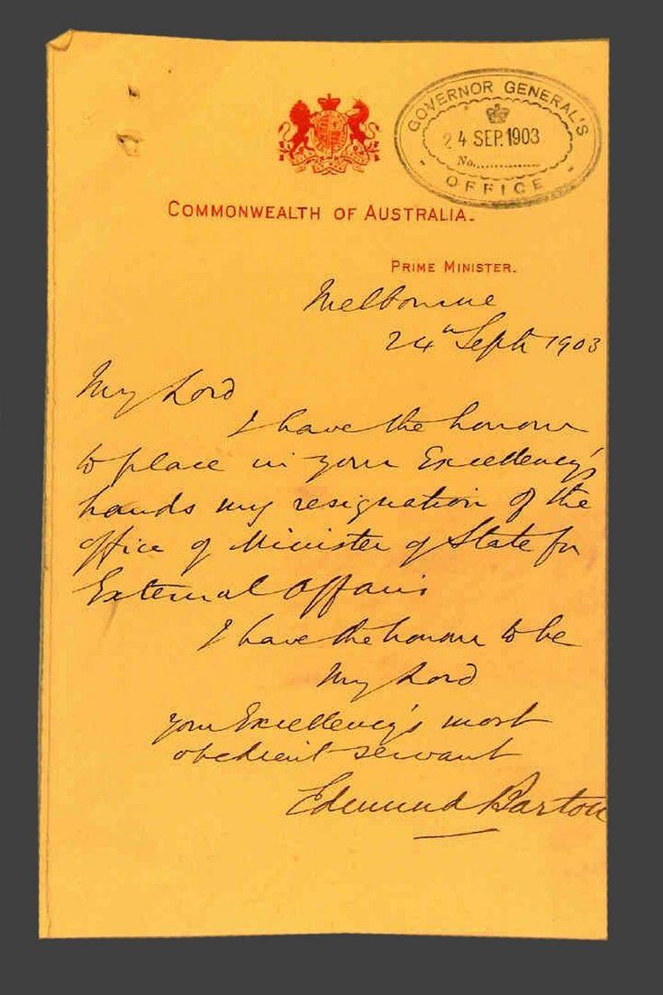 Prime Minister Edmund Barton's Resignation 1903 Edmund Barton (australia's  First Prime Minister) Formally