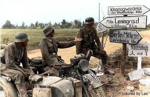 """German Soldiers Joke about signs on the Eastern Front. The soldier in the Middle Points to a sign…"""